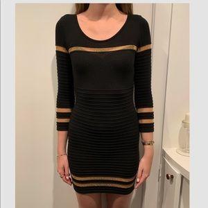 Designer Black and Gold Fitted Dress!